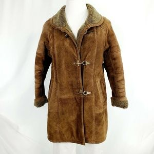 J Gallery Coat Leather Suede Sherpa Lined